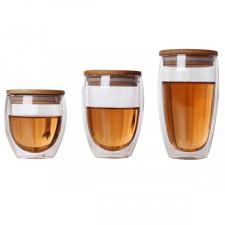 Dvigubo stiklo stiklinė su dangteliu (250/350/450 ml.)