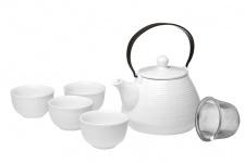 Keramikinis arbatinukas ir 4 pialos (5 vnt.)