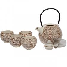 Porcelianinis arbatinukas ir 4 pialos (5 vnt.)