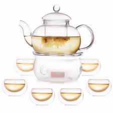 Arbatinukas su šildytuvu ir 6 pialos (400/600/800/1000 ml.)