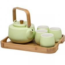 Porcelianinis arbatinukas, 4 pialos ir bambukinis padėklas (6 vnt.)