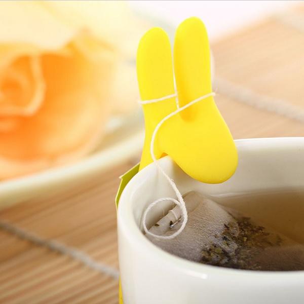 """Silikoninis arbatos maišelio laikiklis - padėkliukas """"Kiškio ausys"""" (1 vnt.)"""